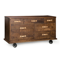 ZUO ERA - Oaktown Wide Dresser Distressed Walnut - A little on the wide side, this dresser looks like it rolled straight off the factory floor. Made of solid wood with a distressed walnut finish, it's fitted with oversized caster wheels for an authentic touch. Fitted with plenty of spacious drawers for ample storage, set it in your bedroom or even in your dining room for use as a console.