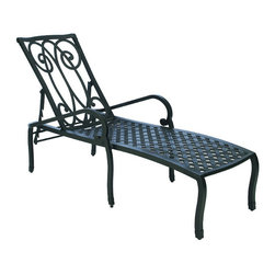 Frontgate - Somerset Outdoor Chaise Lounge with Cushions, Patio Furniture - Frame crafted from heavy-gauge, non-corrosive aluminum. Scrolled back and latticework seat are crafted from a superior grade of hand poured cast aluminum. Durable Ancient Earth powdercoat finish is detailed with hand-applied antique accents. Cushion is covered in exclusive Sunbrella&reg fabrics, the finest solution-dyed, all-weather material available. Stackable for effortless storage. With scrolling and latticework details that recall garden furniture from the English countryside, the Somerset Collection by Summer Classics&reg adds romantic poise to any outdoor living space. Intricate details such as open framework seats and gently curved seat backs are crafted from solid cast aluminum. Generously proportioned frame accommodates a plush outdoor cushion available in a variety of Sunbrella&reg upholstery fabrics. Part of the Somerset Collection by Summer Classics&reg. . . . . Note: Due to the custom-made nature of the cushions, any fabric changes or cancellations made to the Somerset Collection must be made within 24 hours of ordering.