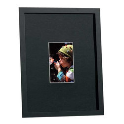 """Exposures - Black Mat Rive Gauche Classic Frame - Overview Part of our best selling Rive Gauche Collection of frames, this style features a black acid-free mat: the professionals choice for making photos or artwork pop. Hangs horizontally or vertically on attached saw tooth hangers. Black 1"""" molding. Features Solid wood moldings Black acid-free mat with white inner core Vertical or Horizontal Wall display only  Specifications Single 4 x 6 is 12"""" x 15"""" overall  Single 5 x 7 is 12"""" x 15"""" overall  Single 8 x 10 is 19"""" x 22"""" overall"""