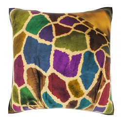 None - Abstract African Giraffe 18-inch Velour Throw Pillow - This decorative velour throw pillow features a full color dye sublimation art print of an abstract African giraffe. Crafted of 100-percent polyester velour, this 18-inch throw pillow is complete with knife edging and a concealed zipper.
