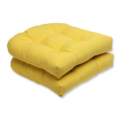 Pillow Perfect - Pillow Perfect Outdoor Yellow Wicker Seat Cushion (Set of 2) - Pillow Perfect Outdoor Yellow Wicker Seat Cushion (Set of 2)