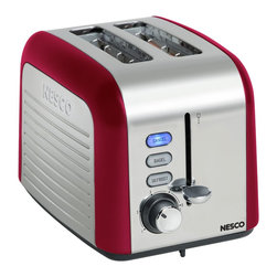 Metal Ware Corp. - Nesco 2 Slice Toaster Red - Nesco Everyday Two Slice Toaster with Red finish. The NESCO 2-Slice Toaster look sharp and come loaded with features. Extra-wide slots automatically center before toasting. The selected function button will glow blue when in use. Set the tint level with the shade control dial and monitor with the Lift + Look lever without interrupting the toasting process. Slide out the crumb tray for quick and easy cleanup.