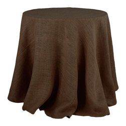 Colored Burlap Tablecloth - Ideal for bringing a bit of texture and neutrality into a room, this burlap tablecloth has a simple, but fantastic style. It's lovely by itself, but even more wonderful with our large Linen Square Hemstitch Overlay Tablecloth (w3693) over it.