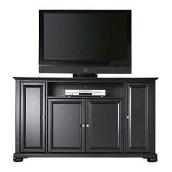 """Crosley Furniture - Crosley Furniture Alexandria 60"""" TV Stand in Black Finish - Crosley Furniture - TV Stands - KF10001ABK - Constructed of solid hardwood and wood veneers this cabinet is designed for longevity. The rich hand rubbed multi-step black finish is perfect for blending with the family of furniture that is already part of your home. Brushed Nickel hardware adds a touch of style to this already beautiful cabinet. There is plenty of storage space and wire management behind the beautiful raised panel doors to hide electronic components gaming consoles DVDs and other items that you would prefer to be out of sight. The 59 3/4"""" width means that this cabinet is perfect for most 60"""" TV's. This cabinet is not just for the TV room. The 36"""" height makes for great TV viewing in the bedroom. Behind the four doors you will find adjustable shelves and lots of storage space for things other than electronics. Style function and quality make this cabinet a wise choice for your home furnishings needs and is sure to be a part of your home for years to come."""