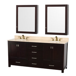 Wyndham Collection - Abingdon Espresso with Medicine Cabinet Mirrors and Undermount Porcelain Sinks - Distinctive styling and elegant lines come together to form a complete range of modern classics in the Abingdon Bathroom Vanity collection. Inspired by well established American standards and crafted without compromise, these vanities are designed to complement any decor, from traditional to minimalist modern. Dimensions: 73 in.