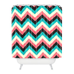DENY Designs - Jacqueline Maldonado Chevron Bold Shower Curtain - Who says bathrooms can't be fun? To get the most bang for your buck, start with an artistic, inventive shower curtain. We've got endless options that will really make your bathroom pop. Heck, your guests may start spending a little extra time in there because of it!