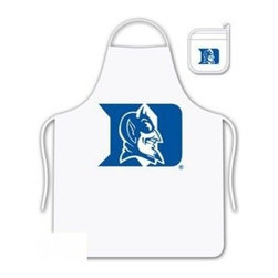 Sports Coverage - Duke Blue Devils Tailgate Apron and Mitt Set - Set includes your favorite collegiate Duke University Blue devils screen printed logo apron and insulated cooking mitt. White apron with white silver backed mitt. Both items are logoed. Tailgate Kit apron and mit is 100% cotton twill with screenprinted logo.