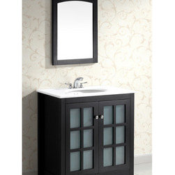 Louisiana Black 30-inch Bath Vanity with 2 Doors and White Marble Top -