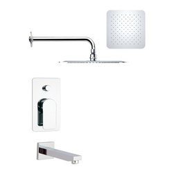 Remer - Modern Square Tub and Rain Shower Faucet - Single function tub and shower faucet.