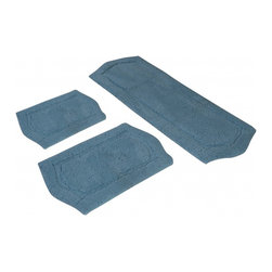 "Chesapeake Merchandising - 3 Piece Paradise Memory Foam Bath Rug Set in Sage, Blue - Step out of your tub onto the luxurious comfort of this exceptional bath mat set. Soft and very absorbent top layer and filled with memory foam, this set cushions your feet and feels great while you dry off and get ready for the day. Offers a skid-resistant base for safety. Dimensions: 22""W X 60""L and 21""W X 34""L and 17""W X 24""L; Color: Spa Blue; Material: Polyester, SBR Latex, Memory Foam; Shape: Rectangular; Construction: Machine Tufted"