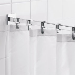 Croydex - Square 98 in. Shower Rod w Curtain Hooks - AD - Manufacturer SKU: AD116441YW. Chrome plated brass and aluminum wall brackets. Bright Anodized aluminum rod. Metal Die-cast Hooks. Square. 98 in. LA compact range of luxury shower curtain rods with stylish wall brackets