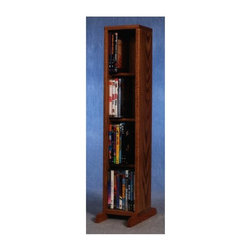 Wood Shed - 4 Row Dowel DVD Tower (Unfinished) - Finish: UnfinishedCapacity: 40 DVD's. Made from solid oak. Honey oak finish. 7.25 in. W x 6.5 in. D x 36 in. H