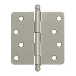 Deltana - 4 in. x 4 in. x 0.25 in. Radius Steel Hinge w Ball Tips - Pair (Set of 10) (Brus - Finish: Brushed Chrome. Pair. Residential steel hinge with ball tips. Pictured in Satin Nickel. Corners: 0.25 in. Radius. Thickness: 0.085 in.. Wood screw: No.10 x 1 in.. 4 in. L x 4 in. W