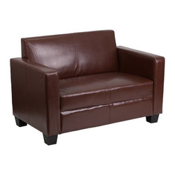Flash Furniture - Flash Furniture Grand Series Brown Leather Loveseat - This comfortable, well-made loveseat is sure to provide you with years of great seating. The tight back design offers firm support for those with back problems. The single seat cushion offers a streamline design that will give your home a chic look. This loveseat is a great option whether this is your main source of seating or used for lounging. This loveseat is perfect for getting furniture between narrow openings due to the fact that the furniture is shipped unassembled.