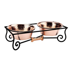 "Frontgate - Copper Pet Feeder with Iron Stand - Small (5""H) - Natural antibacterial properties of copper keep the bowl clean and sanitary. Polished copper will patina over time. Clean with hot, soapy water. Manufacturer's limited lifetime warranty. The Copper Pet Feeder with Iron Stand is one of the few dog bowls worthy of America's finest homes. The artistically handcrafted iron stand houses two handcrafted, solid copper pet bowls and is accented with a copper dog bone.. . . ."