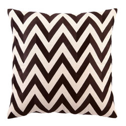 """DL Rhein - DL Rhein Zig Zag Brown Embroidered Pillow - Make a statement with the striking zig zag pattern of designer DL Rhein's chevron-inspired decorative pillow. Thick chocolate brown embroidery pops against a neutral background forming an accent pillow perfect for a traditional or modern home. Handcrafted linen pillow includes 95/5 feather down insert. Pillow measures 20"""" x 20"""". Dry clean only."""