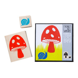Yellow Owl Workshop - Mushroom Snail Stamp Set - Set of two natural rubber stamps with thick cushion, each mounted on a maple block.