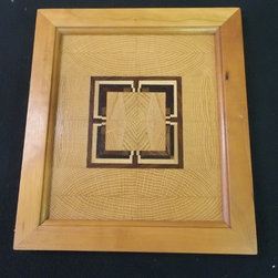"2014 Wood Art Line - Solid cherry frame.  Flat oak panel with exotic wood details thin enough to emit light.  Hourglass center.  10"" x 11.5"""