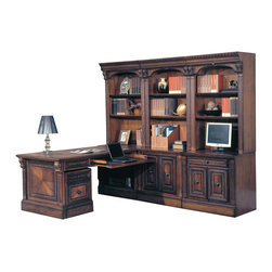 Parker House - Huntington 7-Piece Corner Desk Office Wall with Rolling File in Vintage Pecan - Parker House Furniture is a family owned company offering high quality home office and home entertainment furniture since 1946. They are committed to offering 100% customer satisfaction and make customer service a number one priority. Parker House Furniture manufactures luxurious collections in a variety of rich finishes that are accented with classy details. Wide range of entertainment centers, home office furniture, library walls, and a great selection of media centers are just some of the items they provide to make you home beautiful and unique.
