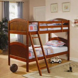 Coaster - Twin Over Twin Bunk Bed in Dark Pine Finish - Mattresses not included. Twin over twin bunk bed. Made from solid pine wood. Attached ladder for easy access to the top bunk. Requires two 9 in. thick twin mattresses. Casual style. Full length guard rails. 79 in. L x 41.75 in. W x 62 in. H. Warranty. Bunk Bed Warning. Please read before purchase.. NOTE: ivgStores DOES NOT offer assembly on loft beds or bunk bedsDesigned to save space, this twin over twin bunk bed is a perfect solution for your children's bedroom. Whether your children share a room or they just want a fun and unique look, this bed will make a wonderful addition to their space!