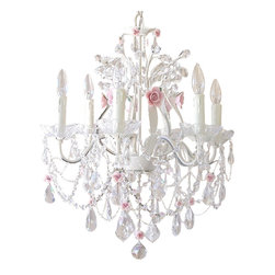 6 Light Crystal Chandelier with Porcelain Roses - This exceptional, large and sparkly 6-light crystal chandelier has been painted antique white and adorned with the most delicate pale pink porcelain roses in full bloom...It is draped with layers on layers of crystal chain swags and decorated with fancy-cut French pendants, gorgeous glass bobeches and a multitude of crystal teardrops. Delicate beaded pearl chains add a dreamy-refined touch to this exquisitely luxurious chandelier, truly a Fairy-tale beauty...