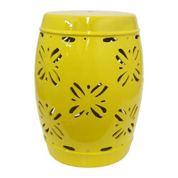 Dragonfly Garden Stool in Yellow - Perfect for indoor or outdoor use, the design and color of this garden stool make it an inviting addition to any home. You'll find many uses for this eclectic and decorative piece.