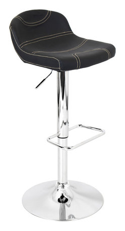 "Lumisource - League Bar Stool, Black W/ Tan Stitching - 15"" L x 15"" W x 29.5 - 38"" H"