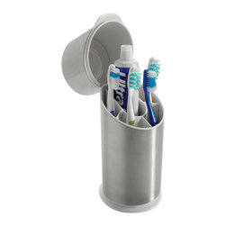 Stainless Steel Toothbrush Organizer - I love that this toothbrush organizer has a lid. It makes me feel like my toothbrush is staying cleaner.