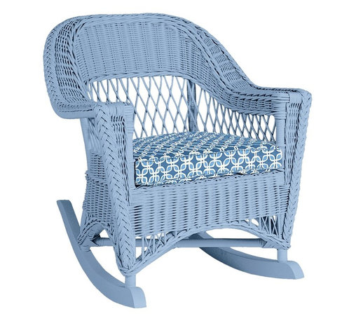 Molly Rocker - The Molly Rocker is a classic vision in wicker. It fits well in any decor and still maintains the traditional profile of a timeless piece. Available in any one of our 50 signature colors and 200 coordinating fabrics exclusively from Maine Cottage®.
