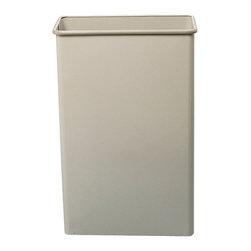 """Safco - Rectangular Wastebasket, 88 Qt. (Qty.3) - Sand - Get the job done! This large 80 quart capacity is ideal for common collection sites throughout the office. Puncture-resistant, fire-safe, heavy-duty steel construction will not burn, melt or emit toxic fumes. Bottom is raised 1"""" to provide air cushion insulation in the event of fire. Color coordinated vinyl bumper tops and no-mar polyethylene feet protect furniture and floors. Units meet all OSHA requirements for waste receptacles and qualify under NFPA Life Safety Code 101, Section 31. Rectangular wastebasket is available in Black, Charcoal or Sand powder coat finish. Packed 3 per carton.; Features: Material: Steel; Color: Sand; Finished Product Weight: 15 lbs.; Assembly Required: No; Limited Lifetime Warranty; Dimensions: 20 3/4""""W x 11""""D x 29 1/2""""H"""