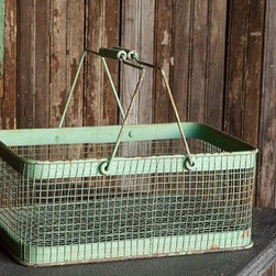 HUGE Antiqued Market Basket - Keep your space clutter free and organize your tight space with this large wire basket. Whether you use them to keep magazines next to your sofa, or your go through stack of paper in your home office, you will love how simple and chic these bins are.