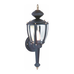 Renovators Supply - Outdoor Lighting Black Aluminum 5-Panel Outdoor Wall Lamp | 20815 - Outdoor Lights: Our 5-Glass Panel Outdoor Light with its elegant vintage design is the perfect feature for a patio or entryway. This measures 16 inches high- projects 5 inches & has a 4-1/2 inches diameter backplate- takes a 60 watt bulb.