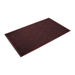 Bungalow Flooring - 36 in. L x 60 in. W Red & Black Waterguard Diamonds Mat - Made to order. Distinct design traps dirt, resists fading, rot and mildew. Indoor and outdoor use. 36 in. L x 60 in. W x 0.5 in. H