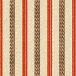 "Ballard Designs - Fletcher Stripe Spice Fabric By The Yard - Content: 100% cotton. Repeat: Non-railroaded fabric. Care: Dry Clean. Width: 54"" wide. Stripes of red, orange, wheat and chocolate in a textured herringbone weave of weighty 100% cotton.. . . . Because fabrics are available in whole-yard increments only, please round your yardage up to the next whole number if your project calls for fractions of a yard. To order fabric for Ballard Customer's-Own-Material (COM) items, please refer to the order instructions provided for each product. Ballard offers free fabric swatches: $5.95 Shipping and Processing, ten swatch maximum. Sorry, cut fabric is non-returnable."