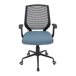 LUMISOURCE - Lumisource Network Office Chair, Blue/Black - This chair adds a touch of modern flair to your home office, conference room, or board room. The padded seat and lumbar support creates comfort for the long days at work. The Network Office Chair offers a comfortable PE backrest with lumbar support, adjustable height, adjustable tilt & tension, and swivels 360 degrees. It sits atop a sturdy 5-point metal base and castors for mobility. BIFMA certified.