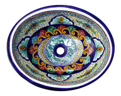 Casa Daya - Made to order Talavera Hand Painted Mexican Sink, Small - Hand painted Talavera Oval Sink
