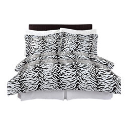 Bed Linens - Zebra 100% Egyptian cotton Duvet cover set, Full-Queen - Colors include black and white.