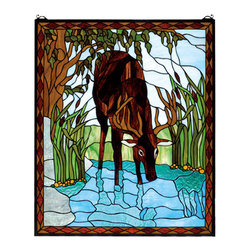 "Meyda Tiffany - Meyda 25""W x 30""H Deer Stained Glass Window - In a sparkling Turquoise river winding through Marsh Green field with cattails a Brown buck dips his head for a drink. This picturesque scene is handcrafted of a beautiful selection of stained art glass. The Meyda Tiffany Original window is framed in a rustic Bark and Leather Brown diamond border. Brass mounting bracket and chains are included"