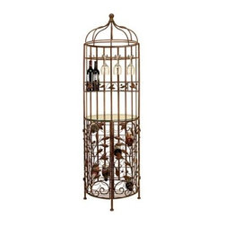 Woodland Imports Birdcage Wine Cabinet Tower - The Woodland Imports Birdcage Wine Cabinet Tower offers a delightful display for your favorite wines. Crafted of premium metal alloy with a charming, antiqued bronze finish, this birdcage tower carries up to 20 full-size wine bottles and features a handy stemware rack and glass shelf to stow dessert plates or cocktail napkins.