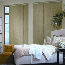 Panel Track Blinds | Eclectic Master Suite | brown | Room Darkening Window Blind - Design a relaxing master suite.