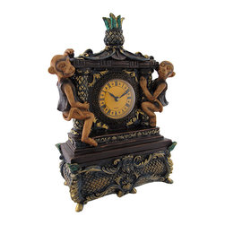 Antiqued Monkey Table Clock and Trinket Box - This clock and trinket box features intricate designs with an overall antique look. Made of cold cast resin it measures 13 inches tall, 8 1/2 inches long, 4 1/2 inches wide, and has a 2 3/4 inch diameter clock face. The clock features a quartz movement and runs on 1 AA battery (not included). The top portion containing the clock is removable to reveal a hidden trinket box with inner dimensions measuring 6 3/4 inches long, 2 1/2 inches wide, and 2 1/2 inches deep. This piece is perfect for storing small items while adding a decorative accent to mantels, shelves, tables, or bookcases in your home or office.