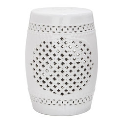 Safavieh - Elba Garden Stool - Heraldry reigns in the Elba Garden Stool with a cluster of tiny four-leaf cut-outs creating a strong but simple central motif that will complement myriad decorating styles. Use this white glazed ceramic accent piece indoors or out as an extra seat, a side table of plant stand.