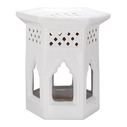 Home Decorators Collection - Shanghai Garden Stool - Our ceramic Shanghai Garden Stool has design elements characteristic of Eastern architecture, including a hexagonal shape, a flared top, diamond cutouts and scalloped-top windows. This versatile piece can be used as a seat or a side table indoors or outdoors. Bring a piece of Asia to your garden or sitting room. Made of ceramic. Features a high-gloss finish. Can be used indoors or outdoors. The unique design evokes Asian tradition.