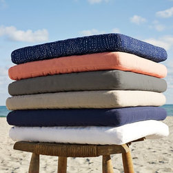 Wood-Slat Outdoor Cushions - Add some softness to the great outdoors. These tough, water-resistant, woven-polyester canvas cushions are come in a variety of colors and patterns. The perfect complement to the Wood-Slat Collection.