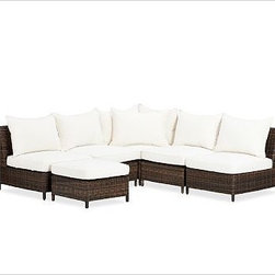 Torrey All-Weather Wicker 6-Piece Sectional (4 arm, 1 cnr + 1 ott), Espresso - With its thick weave and variegated color, our Torrey sectional captures the organic beauty of rattan. Weatherproof and maintenance-free, it's actually made of a durable synthetic, so you can leave it outdoors year-round. Click to read an article on {{link path='pages/popups/torrey-care_popup.html' class='popup' width='640' height='700'}}recommended care{{/link}}. Crafted from rattan, prized for its strength and variegated gray-beige tones. Armless chair comes with one seat cushion and one back cushion. Corner chair comes with one seat cushion and two back cushions. Ottoman comes with one seat cushion. Cushions include a water-repellent polyester canvas slipcover in Natural; imported. Get a colorful update with additional slipcovers (sold separately) in water-repellent, ring-spun polyester canvas, or fade and stain-resistant Sunbrella(R) fabric; imported. Sunbrella(R) cushions and slipcovers are special order items which receive delivery in 34 weeks. Please click on the shipping tab for shipping and return information. Four-piece sectional includes one corner chair and three armless chairs. Five-piece sectional includes one corner chair and four armless chairs. Six-piece sectional includes one corner chair, four armless chairs, and one ottoman. Spot clean slipcover with a damp white cloth. Sunbrella(R) cushions and slipcovers are special order items which receive delivery in 3-4 weeks. Please click on the shipping tab for shipping and return information. View our {{link path='pages/popups/fb-outdoor.html' class='popup' width='480' height='300'}}Furniture Brochure{{/link}}.