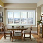 """Bow Window - 4-Lite Bow Window with double hung flankers and 5/8"""" flat grid."""