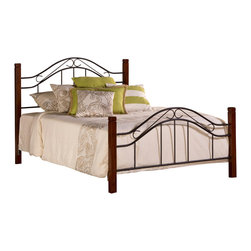 Hillsdale Furniture - Hillsdale Matson Metal Poster Bed in Cherry & Black - Queen - Our Matson Bed offers the exceptional style of artistic design, with an even more exceptional price to match. The Matson Bed boasts whimsically curving accents in a mixed media package including solid hardwood, cherry-finished posts and elegant metalwork features on the headboard and footboard. Available in twin, full, queen and king sizes.