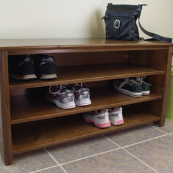 Mac Shoe/Boot Storage Bench - This is our Mackintosh inspired shoe/boot storage bench in a mocha stain with black accents. We design our furniture to look good and provide a lifetime of service. All of our designs are original and made in small batches in our studio in Vista, California.