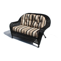 WickerParadise - Outdoor Wicker Loveseat - Montauk - You'll be pleasantly surprised at how well black wicker works as outdoor decor. It's gorgeous in the sunlight and meshes easily with a variety of supporting colors. A big bonus is the mocha and cream print, which camouflages minor mishaps like coffee dribbles and pet hair. Attractive and sturdy, it's a smart choice for your patio.