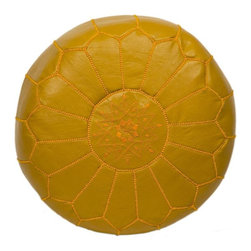 """Pre-owned Embroidered Leather Pouf - Mustard on Mustard - Authentic Moroccan hand-made leather hassock commonly known as Poof is made out of genuine soft leather. The poof is so practical it can be used as a foot stool, as a low seat next to your coffee table or in your children room. This pouf is pre-stuffed with cotton batting. This provides comfort and durability for the poofs. ‰Ű˘ Zippered bottom opening for easy stuffing. Measurement: Diameter: 20"""" Height: 12"""""""